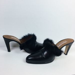 Vintage Stefani Pointy Leather Mules Feather Trim